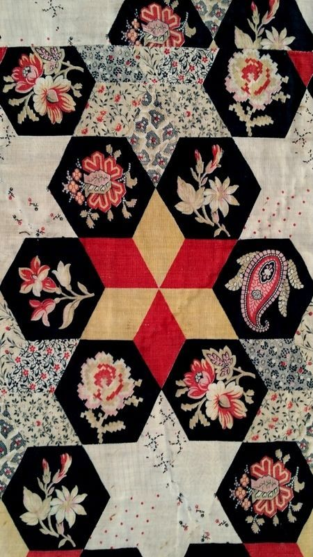 19thc Cheater Cloth Antique Quilt Fabric Stack 6 Pointed Star Hexagon Floral Antique Fabrics Vintage Fabrics Antique Quilt