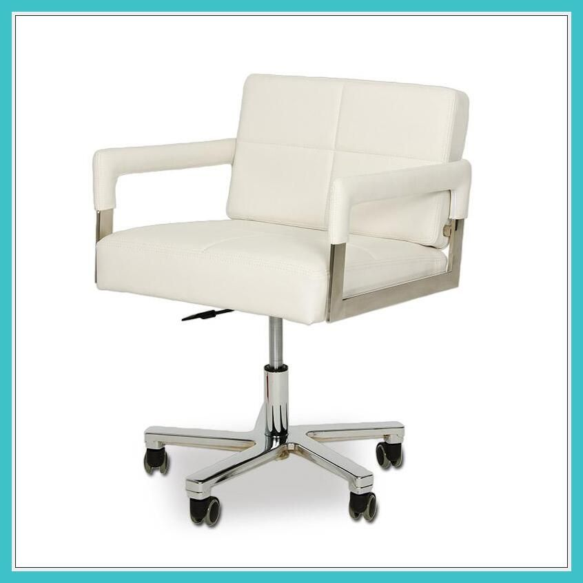 white leather drafting chair