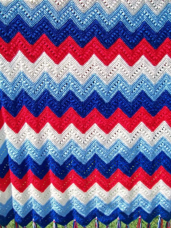 Vintage Patriotic Zig Zag Crochet Afghan Blanket Red White Blue ...