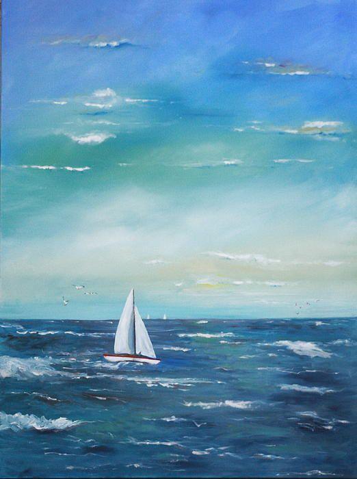Oil painting of sailboat at sea. | Boat art, Sailboat art ...