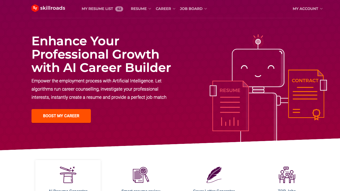 Skillroads main page Career counseling, Create a resume
