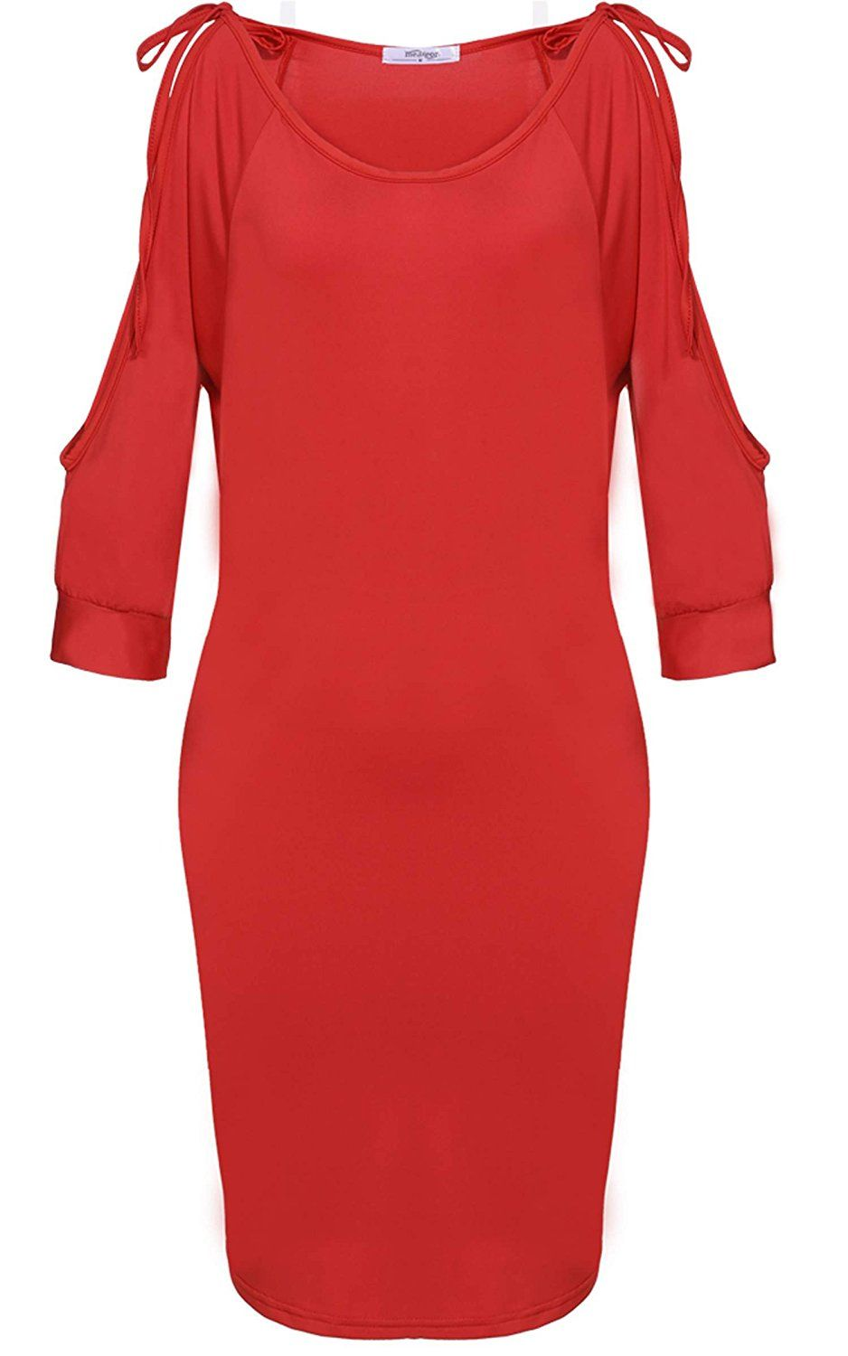 Meaneor Women's Bare Shouldered Scoop Neck Tunic Top Bodycon Casual Dress * Review more details here : Dresses Sale