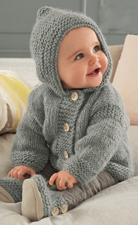 2357dbc3487716 Knitting Pattern Baby Hooded Jacket PDF Pattern Instant Download ...