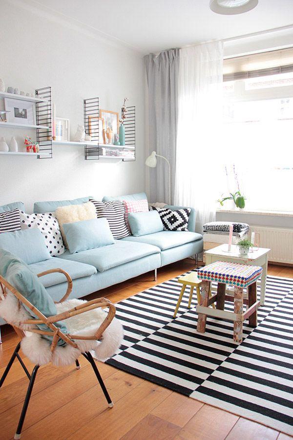 Salas e cozinhas inspiradoras em azul claro - Constance Zahn