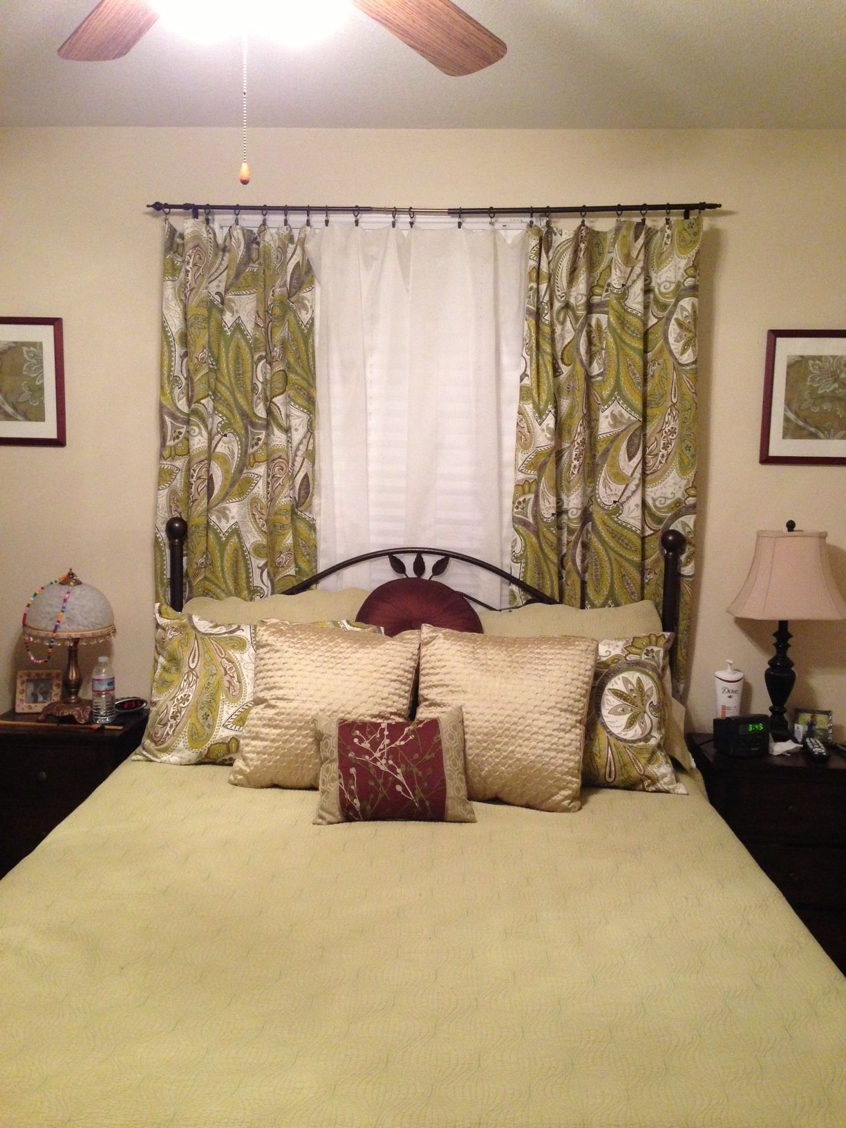 Window side bed design  bedroom needed a punch of color had my mom make curtain panels out