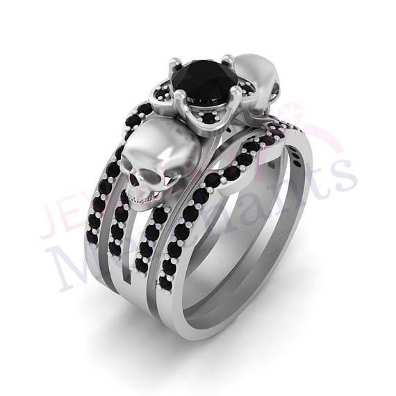 Gothic Engagement Ring With Double Band Set 2.60 Ct Black