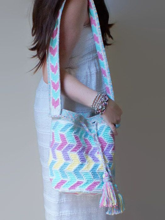 Boho Bucket Bag Hand-Woven Tapestry Crochet Pastel by Songbyrdy