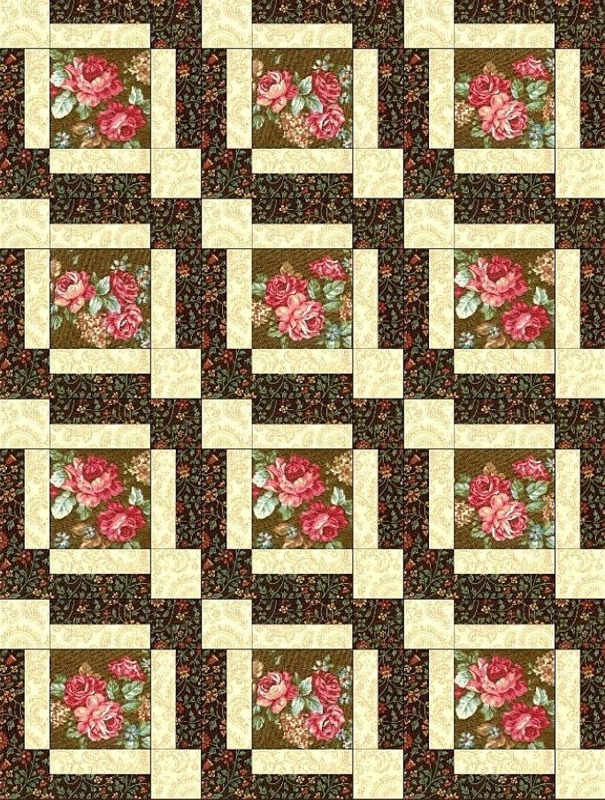 "Amelia Rose Flower 12 Pre-Cut Quilt Kit 9"" Blocks"