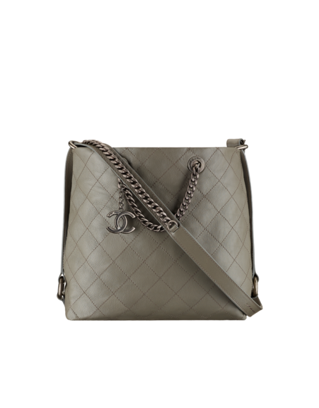 Hobo Handbag Calfskin Ruthenium Tone Metal Gray Chanel