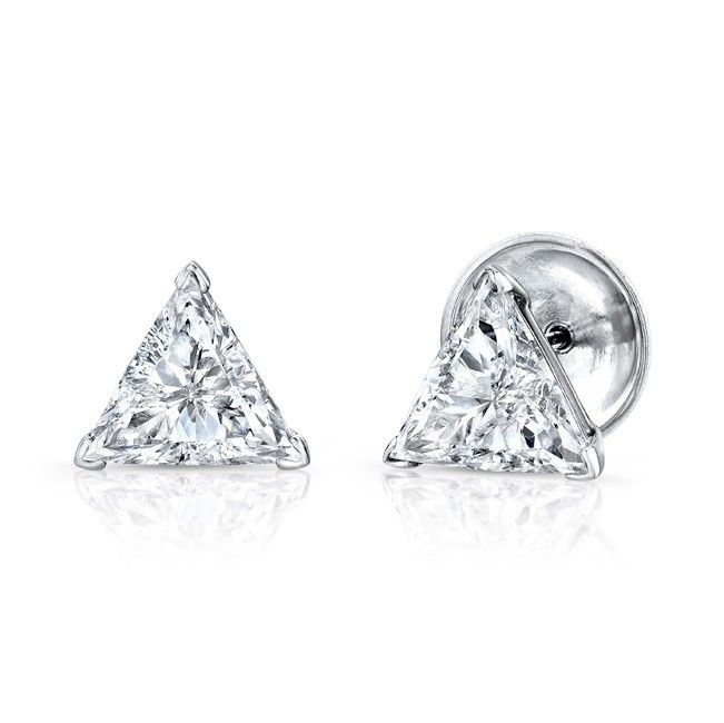 Trillion Diamond Stud Earrings Our Beautiful Set In 18k White Gold