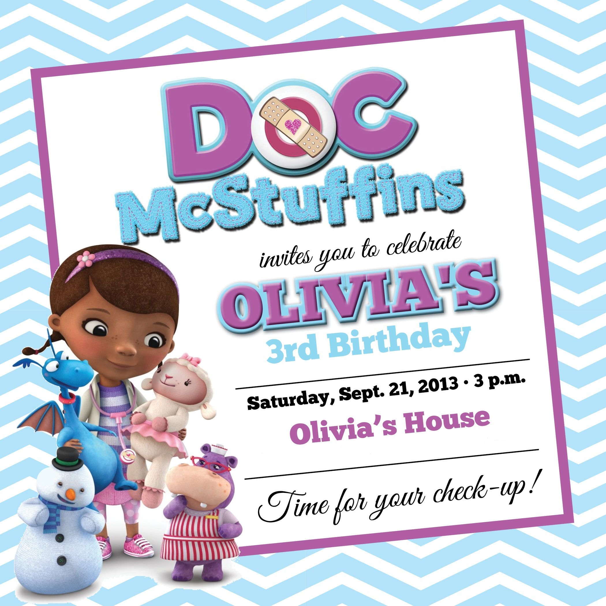 Free Doc Mcstuffins Birthday Party Invitations