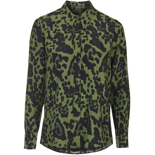 TOPSHOP Khaki Leopard Shirt (95 CAD) ❤ liked on Polyvore featuring tops 7599e9a07