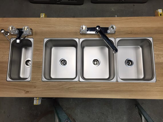 3 Compartment Portable Sink For Outdoor Food Truck Trailer Food