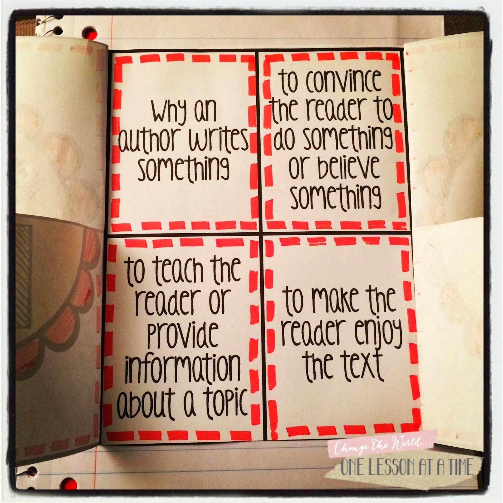 Author S Purpose Interactive Notebook Freebie