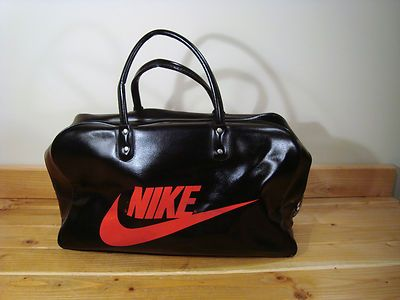 74426792cb83 Vintage Nike Black Gym Duffle Bag Travelite Red Letters Travel 70 s ...