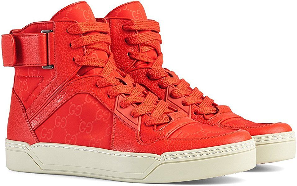 7687ed8b6ec Amazon.com  Gucci Men s Red Leather Nylon High Top Sneakers 409766 (11 G 12  US)  Shoes