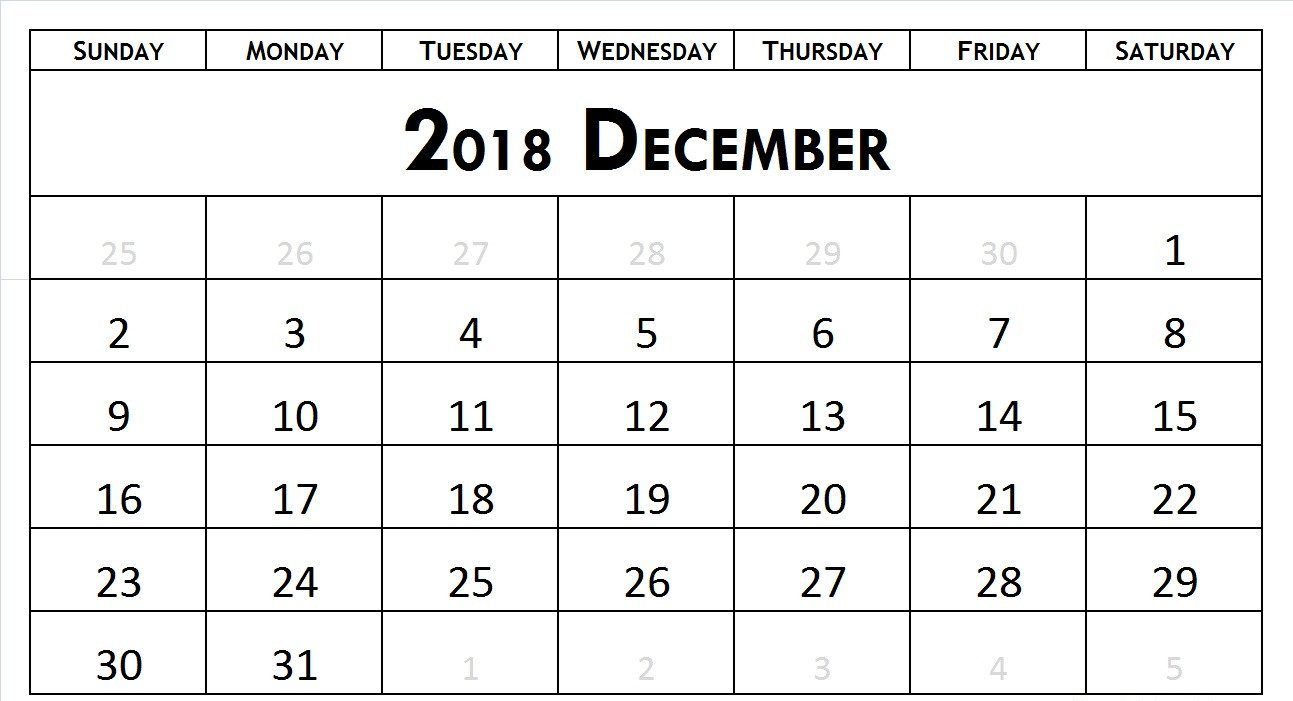 Blank Calendar December 2018 Monthly December 2018 Calendar