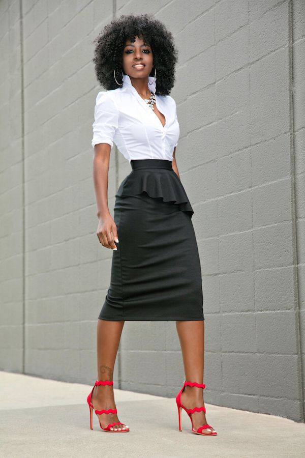 6eee1b3d67 Style Pantry | Fitted Button Down + Frill Peplum Skirt | Tanae Shoot ...