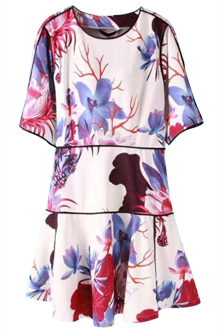 The dress featuring floral print. Round neckline. Short sleeves. Add a pair of heels for a slim silhouette and embrace hot summer.
