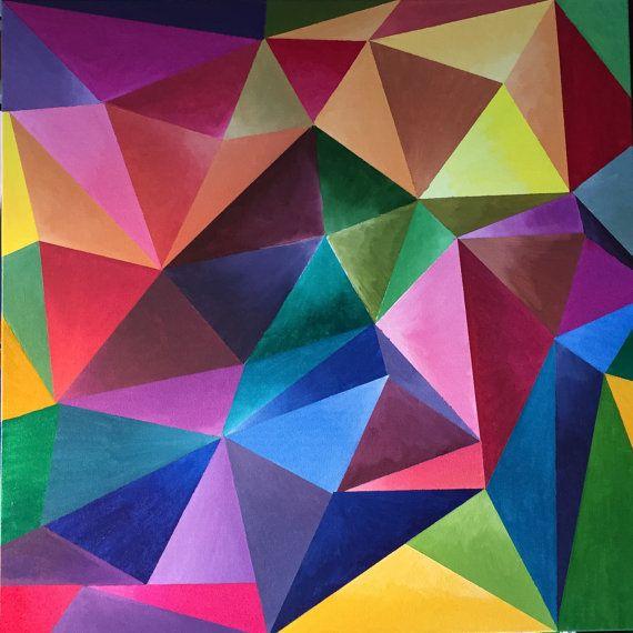 Peinture contemporaine abstraite multicolore la peinture for Peinture geometrique contemporaine