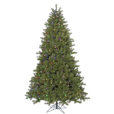 The Holiday Aisle 9' Ontario Spruce Christmas Tree with 1000 LED Multi Colored Lights with Stand