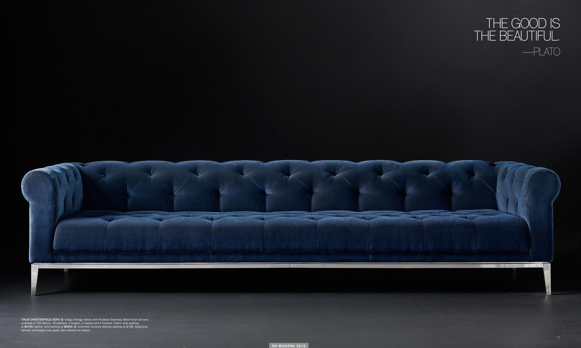 Italia Chesterfield Sofa Leather Chair Living Room Blue Velvet Chairs Sofa