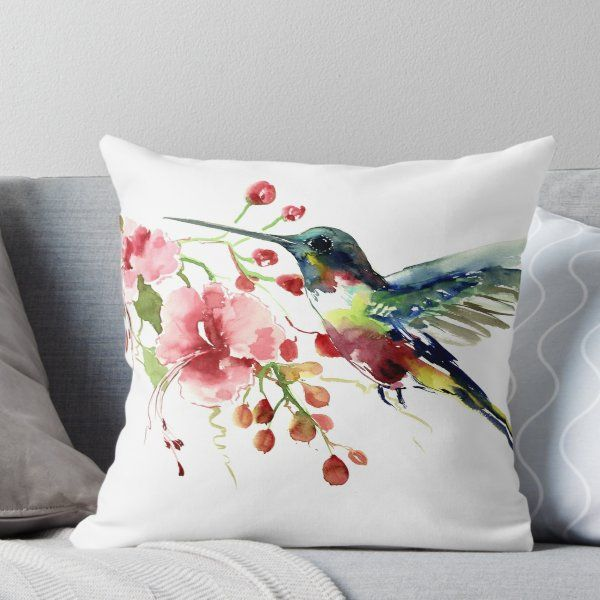 Hummingbird And Flowers Throw Pillow By Surenart In 2021 Designer Throw Pillows Throw Pillows Flower Throw Pillows
