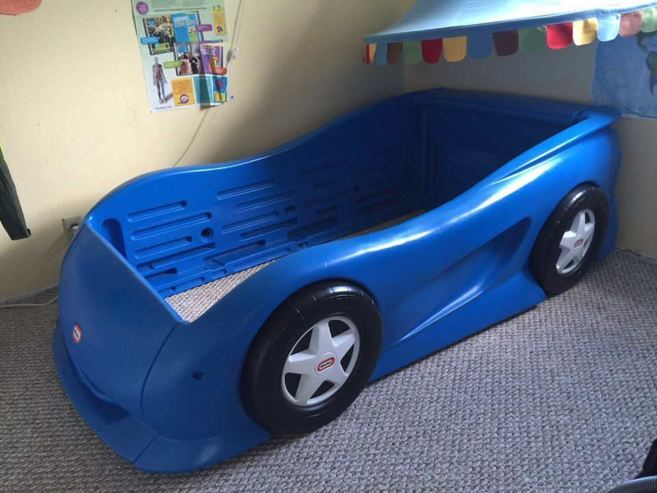 [Preowned] Little Tikes Blue Sports Car Twin Bed Frame