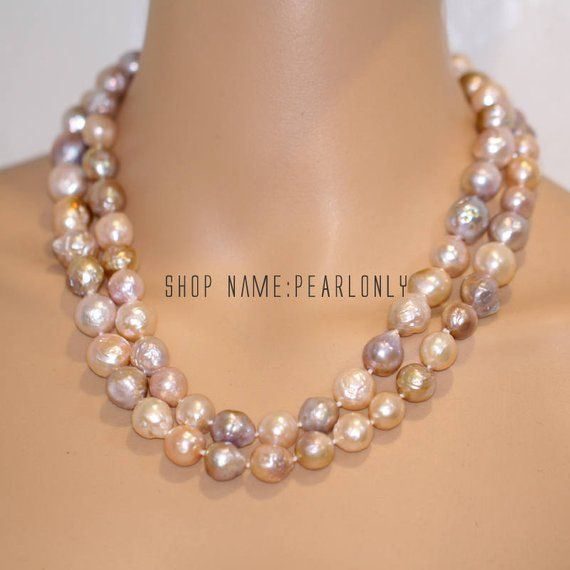 Fashion Jewellery 20'' 10 Strands Faceted Crystal Baroque Pearl Necklace