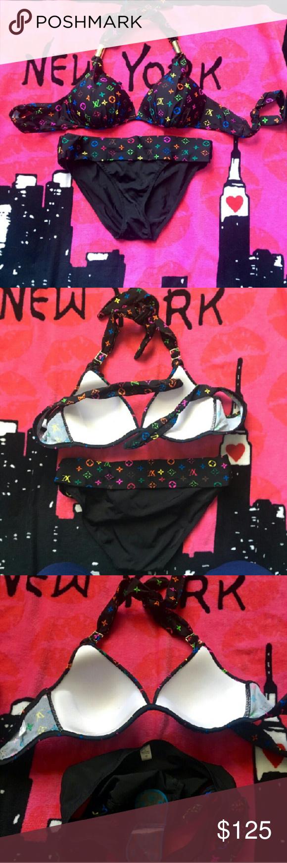 9352b629d6 New LV Black Multicolor Bikini Swimsuit Set