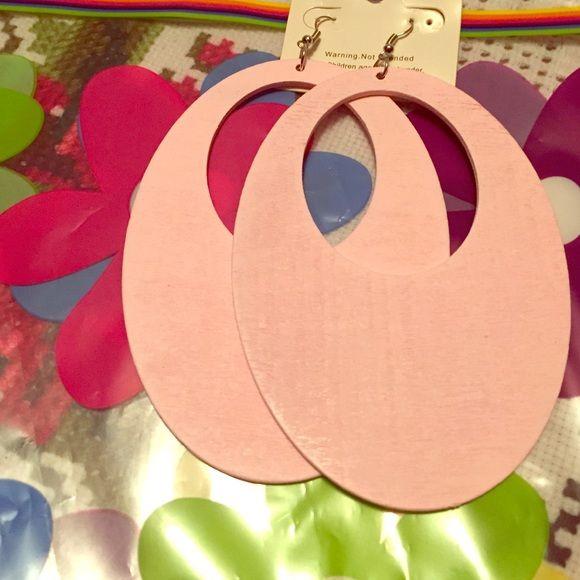 Retro pink earrings Amazing retro oval wooden pink earrings will make a statement! Jewelry Earrings