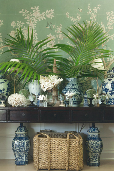 mark d sikes house beautiful dining room chinese porcelain vases collection