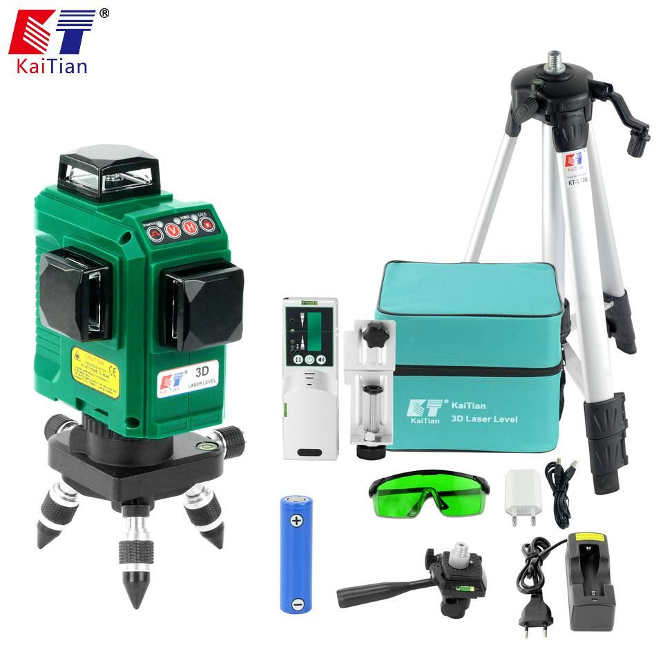 Kaitian 12 Lines 3d Laser Level Receiver Self Leveling Horizontal 360 Vertical Cross Us 201 30 Laser Levels Green Laser Tripod