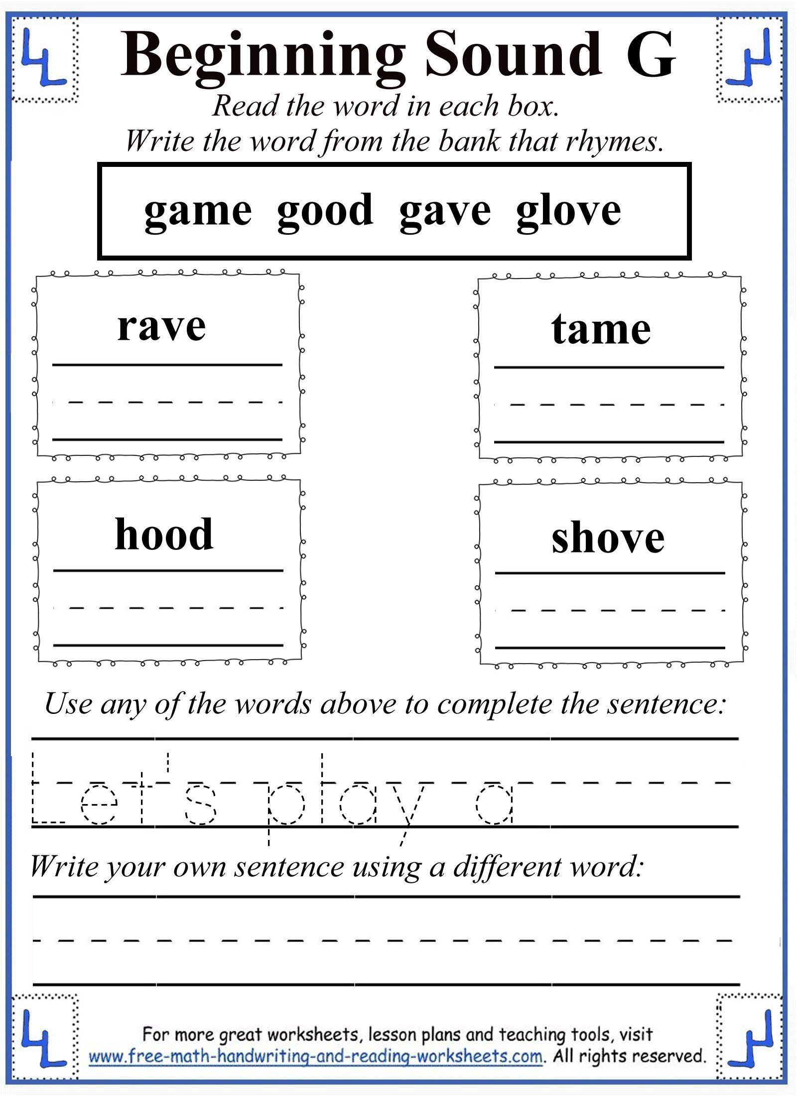 Letter G Worksheet 4