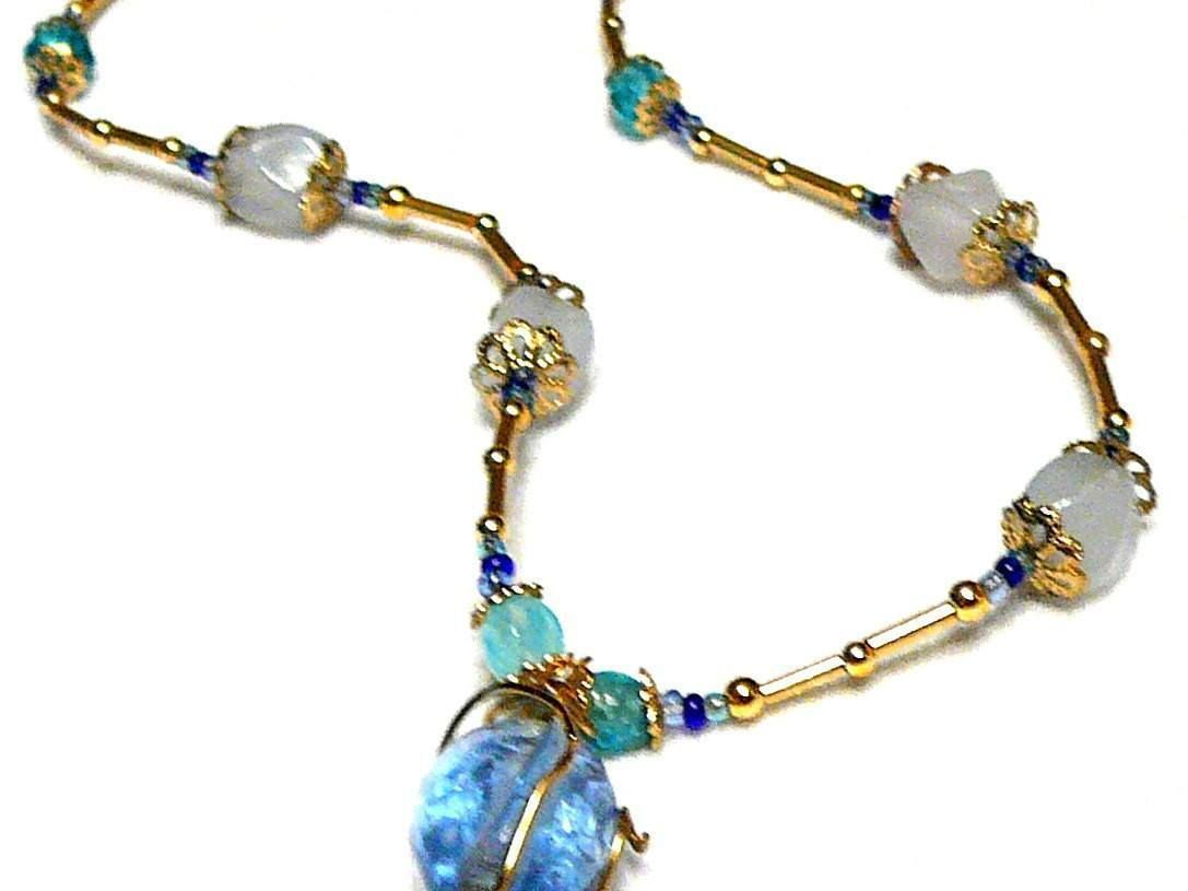 Blue and Gold Pendant Necklace - Alkonost Egg Necklace