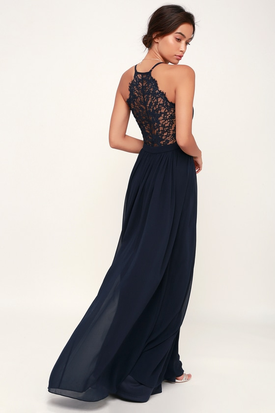 Lulus | Love Spell Navy Blue Lace-Back Maxi