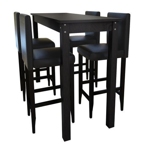 Barset Stehtisch Bartisch Mit 4 Barhocker Barstuhl Holz Stuhl