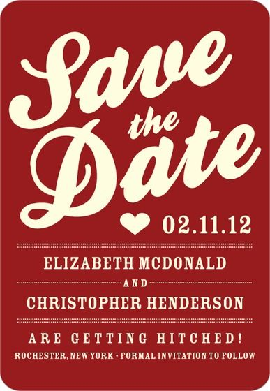 A fun Save the Date card that uses bold fonts and bright colors