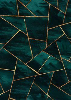 Teal Ink Copper Gold Geo 1