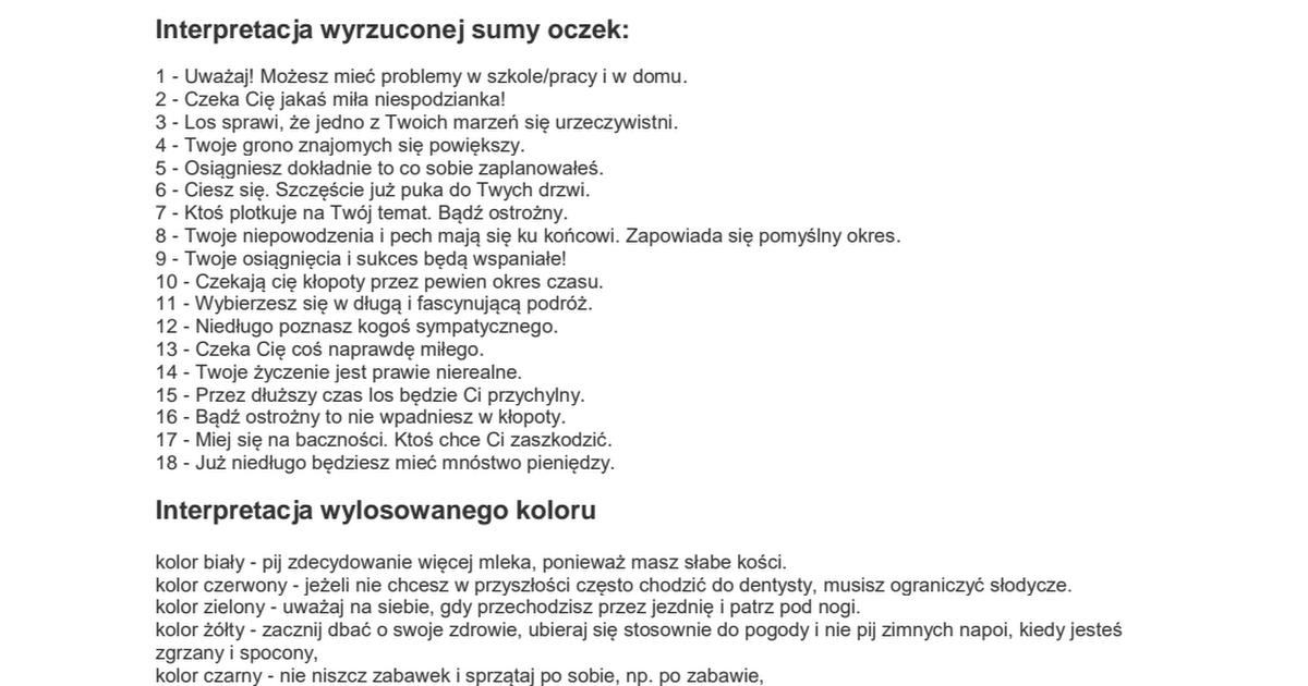 Andrzejki Wrozby Pdf Person Personalized Items