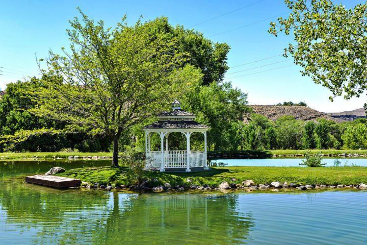 7 houses, a pool and a pond.