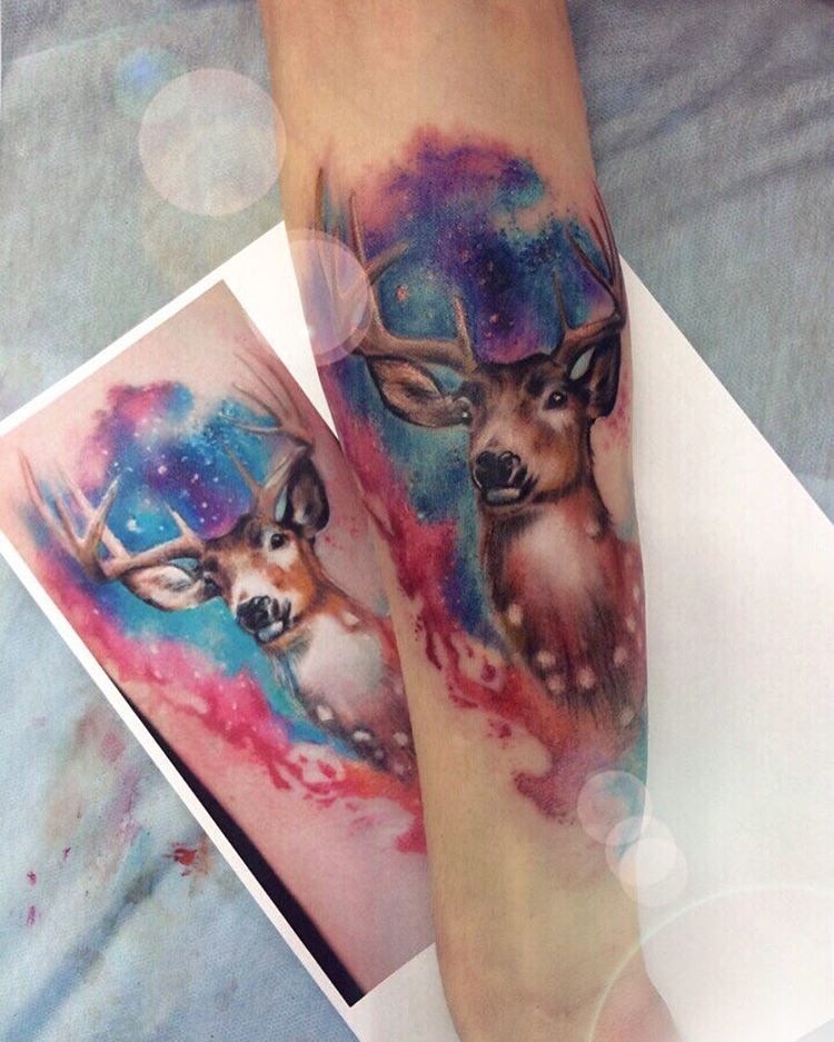 Watercolor Deer Tattoo Watercolor Deer Deer Tattoo Animal Tattoos