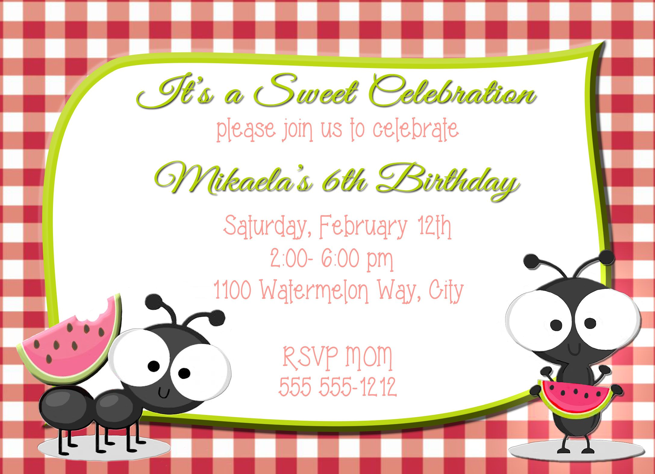 Watermelon picnic personalized birthday invitation 1 sided all watermelon picnic personalized birthday invitation 1 sided filmwisefo Image collections