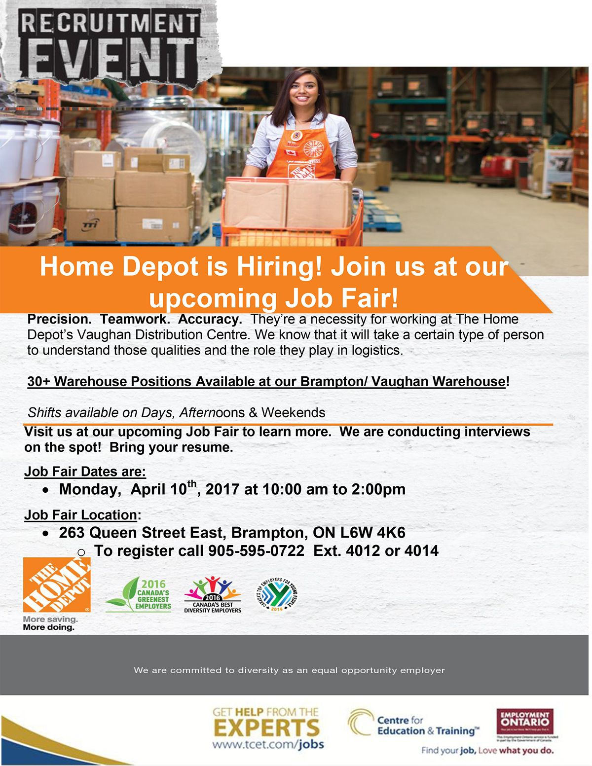 Vaughan Home Depot Right Now Until 2pm Looking For Work Stop By Tcet