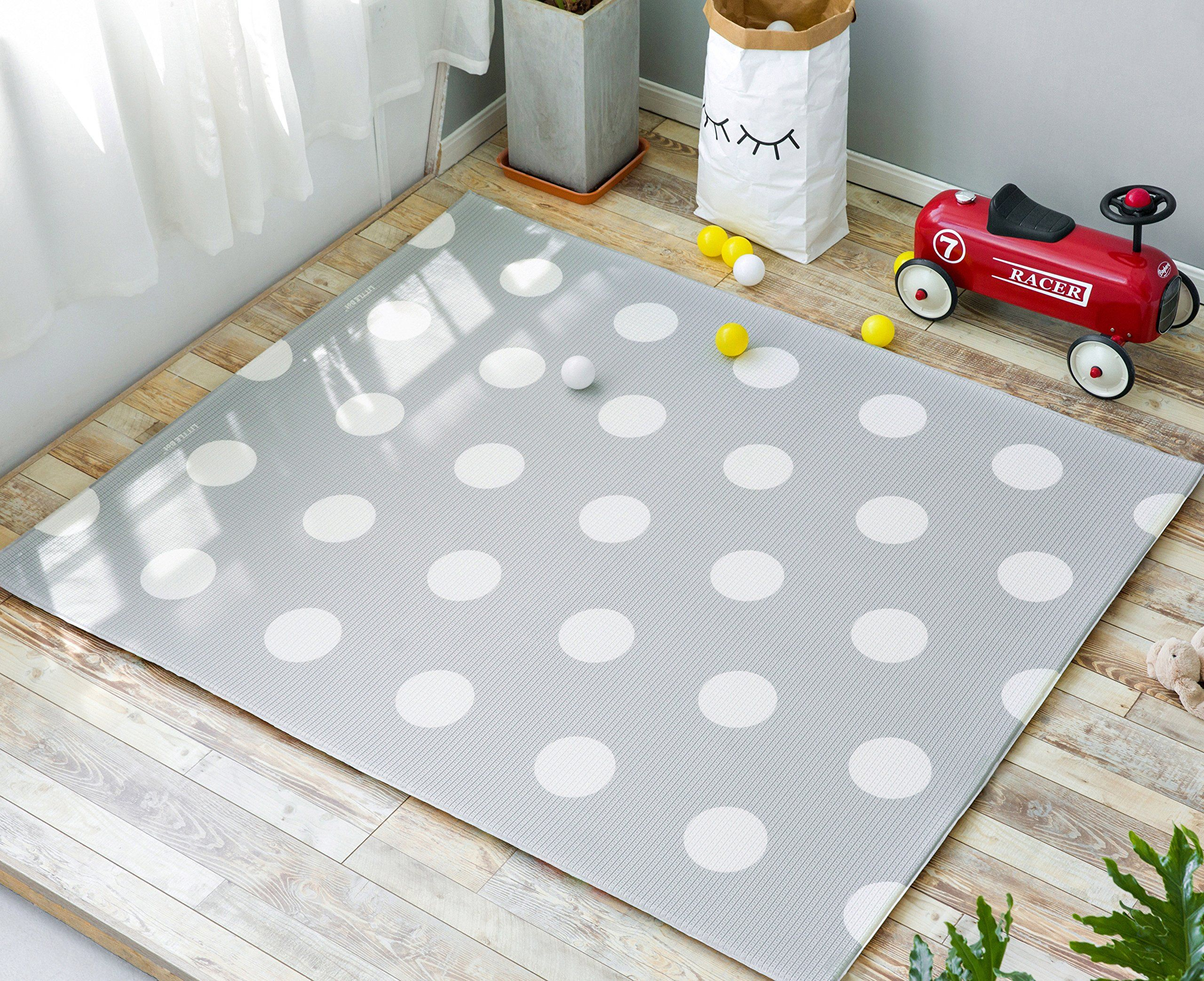 Little Bot Baby Foam Play Mat Non Toxic Odourless And Ultra Cushioned Little Car And Polka Dots Space Grey 71 Inch X 59 Inch Play Mat Cushioned Kids Rugs