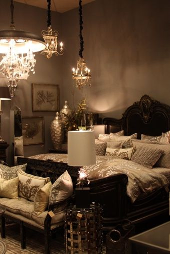 Bedroom Glamour Tan Silver Dark Wood Home Decor Bedroom Luxurious Bedrooms Home