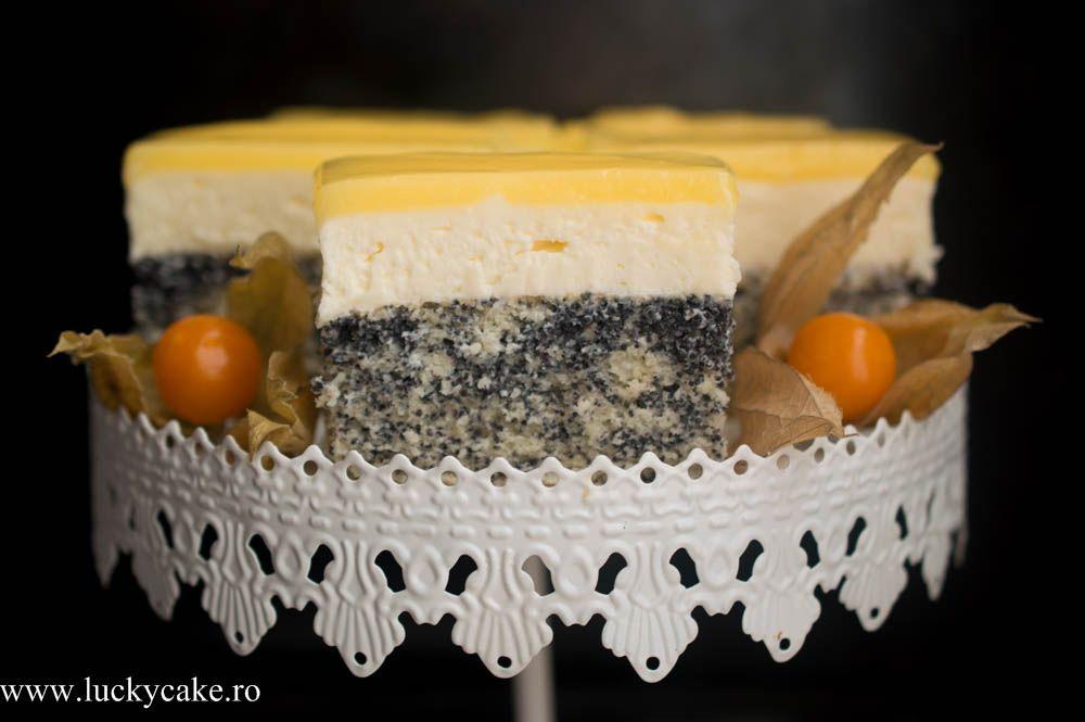 Prajitura Lemon - O prajitura fina si delicata , blat de mac, crema de branza fina si un lemon curd acrisor si intens