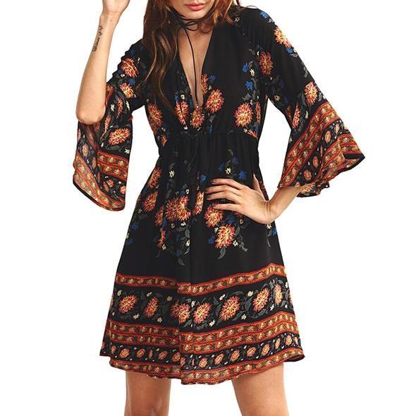35fbf5bad4 Wipalo 2019 New Spring Women Dress Sexy Deep V-Neck Long Sleeve Mini ...