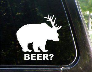 "Amazon.com: BEER (bear + deer) 5"" WHITE Vinyl Decal Window Sticker for Laptop, Ipad, Window, Wall, Car, Truck, Motorcycle: Automotive"