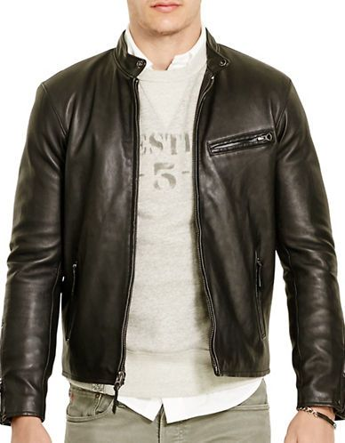 Polo Ralph Lauren Leather Cafe Racer Jacket Men's Polo Black X-Large